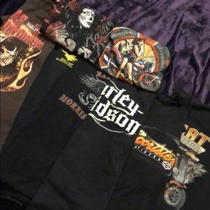 6 Harley-Davidson T-shirts, plus 2